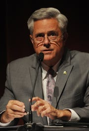Candidate Joel Price speaks at the Thousand Oaks City Council candidates forum Wednesday night at the Scheer Forum Theatre. The event was sponsored by the League of Women's Voters.