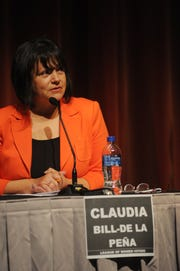 Candidate Claudia Bill-De La Peña  speaks at the Thousand Oaks City Council candidates forum Wednesday night at the Scheer Forum Theatre. The event was sponsored by the League of Women's Voters.