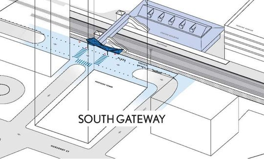 A bird's-eye illustration of how Shearwood Place would allow access to the New Rochelle train station.