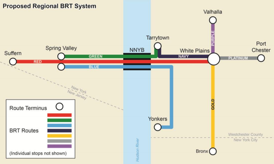 A map of the proposed Hudson Link system made by the Mass Transit Task Force in 2014.