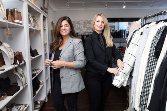 Dawn Pasacreta, left, and Denise Elias, owners of Lola New York, a women's clothing and accessories boutique in White Plains, Oct. 18, 2018. They have a second shop in Tuckahoe and sell online as well.