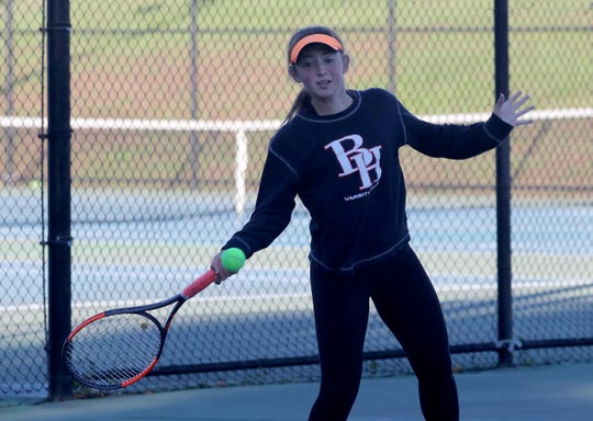 Alyssa Margolin of Byram Hills returns a shot during a doubles match at the Section 1 girls tennis championships at Harrison High School Oct.18, 2018.