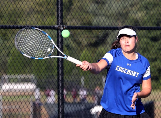 Olga Lew-Kiedrowska of Edgemont returns a shot during a doubles match at the Section 1 girls tennis championships at Harrison High School Oct.18, 2018.