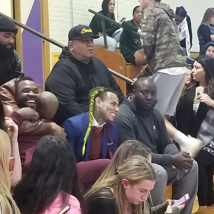 Rapper Tekashi 6ix9ine appeared at a Clarkstown North High School volleyball game Oct. 17, 2018.