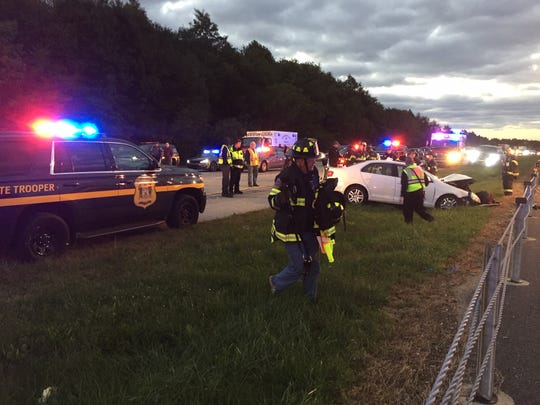 Del. 1 north was closed Thursday morning after a multiple-vehicle crash.