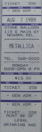 The ticket stub from Metallica's only Delaware concert.