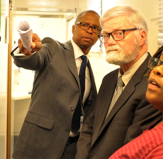 National Health and Nutrition Examination Survey, Study Manager George Dixon shows Wichita County Judge, Woody Gossom a tour of the pediatrics area of the National Health and Nutrition Examination facility Thursday morning.
