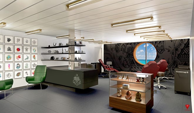 The first ship from start-up cruise line Virgin Voyages will have a tattoo parlor, as shown here in an artist's drawing.