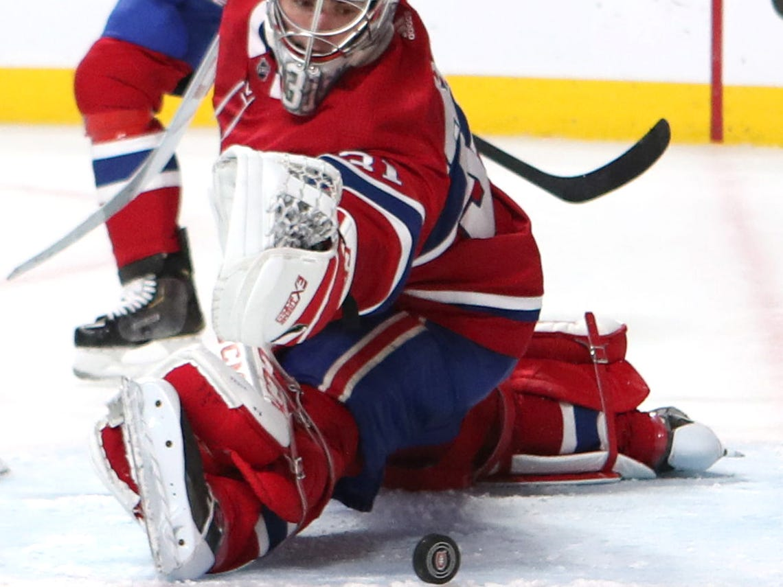 Oct. 17: St. Louis Blues center Brayden Schenn (not pictured) scores against Montreal Canadiens goaltender Carey Price during the third period at Bell Centre.