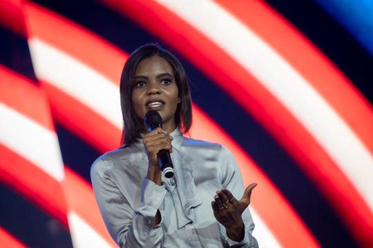 Candace Owens speaks at Liberty University, retelling her story from high school in which a group of boys left her voicemails with racial slurs and threats.
