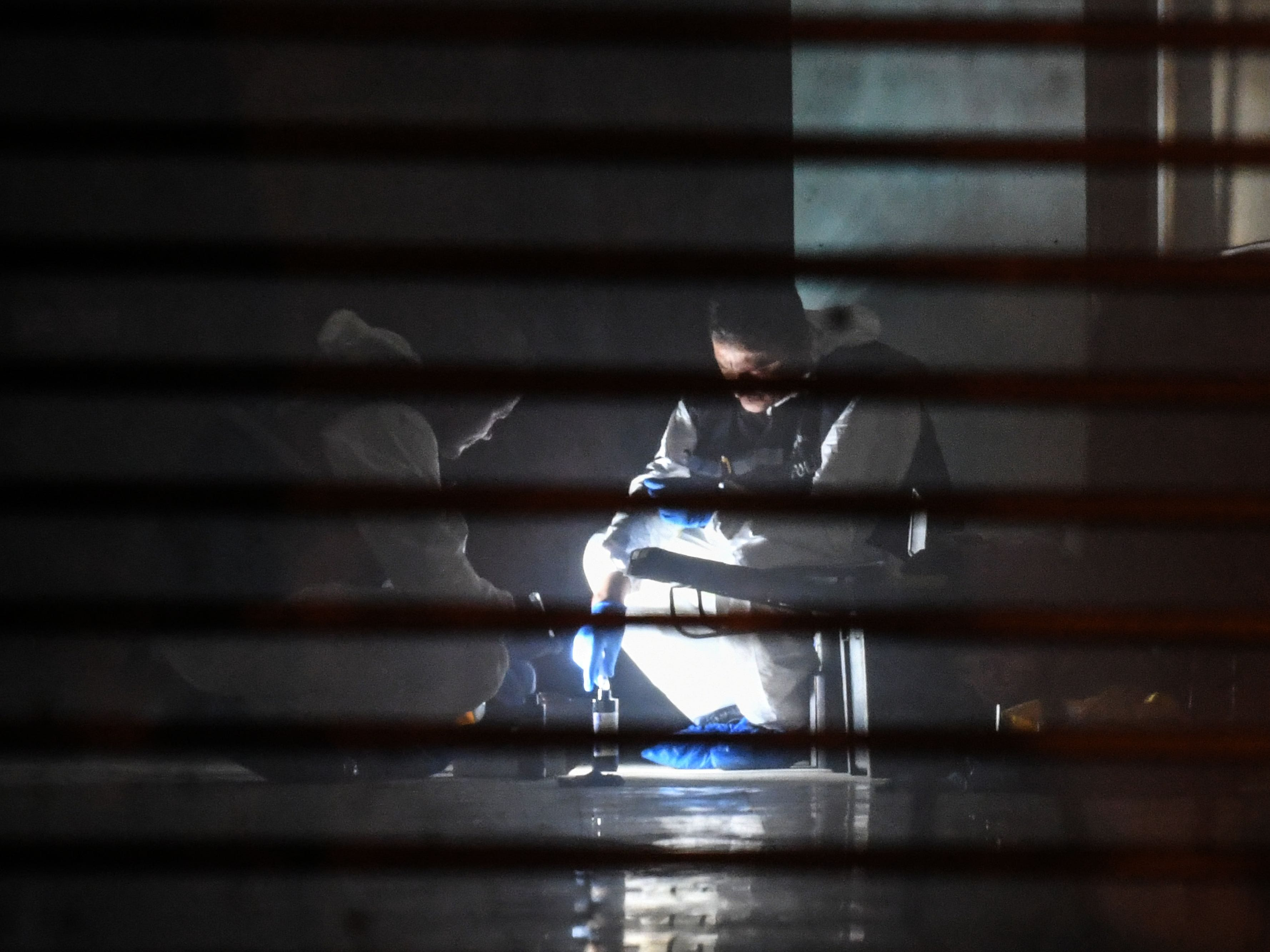 Turkish forensic search for evidence at the garage of Saudi Arabia's Consul General Mohammad al-Otaibi, Oct. 17, 2018, in Istanbul.