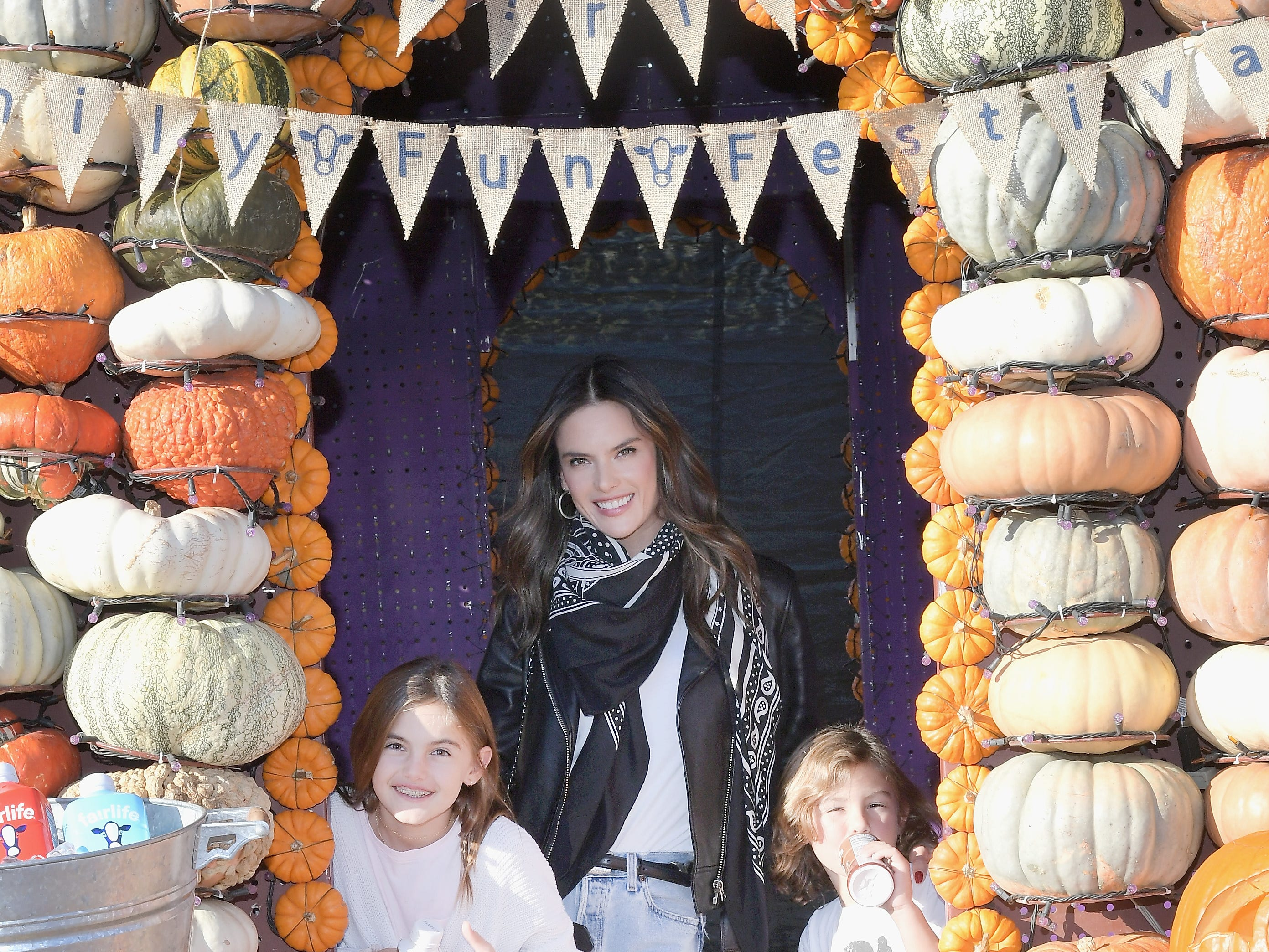 CULVER CITY, CA - OCTOBER 15:  (L-R) Anja Louise Ambrosio Mazur, Alessandra Ambrosio and Noah Phoenix Ambrosio Mazur attend The fairlife Family Fun Festival Hosted by fairlife Ultra-Filtered Milk at Mr. Bones Pumpkin Patch on October 15, 2018 in Culver City, California.  (Photo by Charley Gallay/Getty Images for fairlife ) ORG XMIT: 775241654 ORIG FILE ID: 1052227048