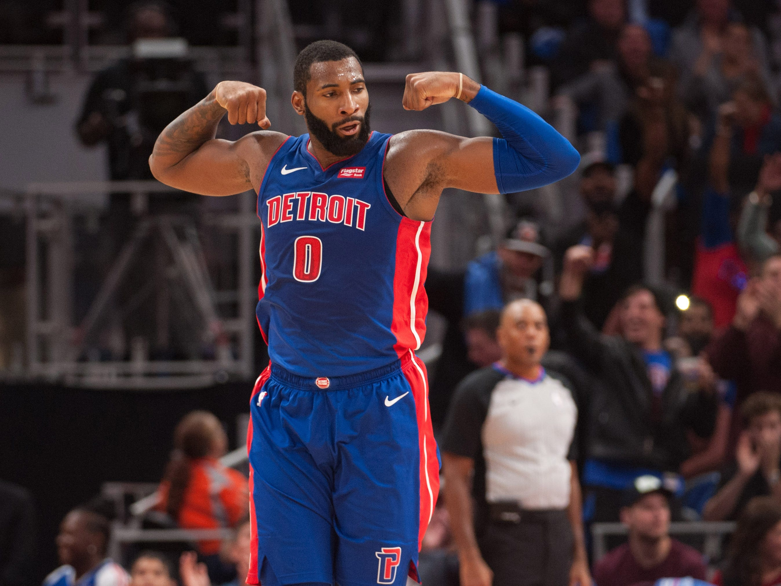 Oct. 17: Andre Drummond celebrates during the third quarter against the Brooklyn Nets at Little Caesars Arena.
