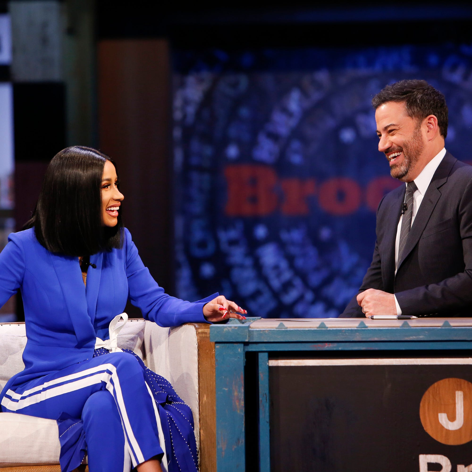 "JIMMY KIMMEL LIVE! - ""Jimmy Kimmel Live!"" airs every weeknight at 11:35 p.m. EDT and features a diverse lineup of guests that include celebrities, athletes, musical acts, comedians and human interest subjects, along with comedy bits and a house band. The guests for Wednesday, October 17 included Cardi B., Alexandria Ocasio-Cortez (congressional hopeful), and musical guest J. Balvin Ft. Zion & Lennox. (ABC/Randy Holmes)