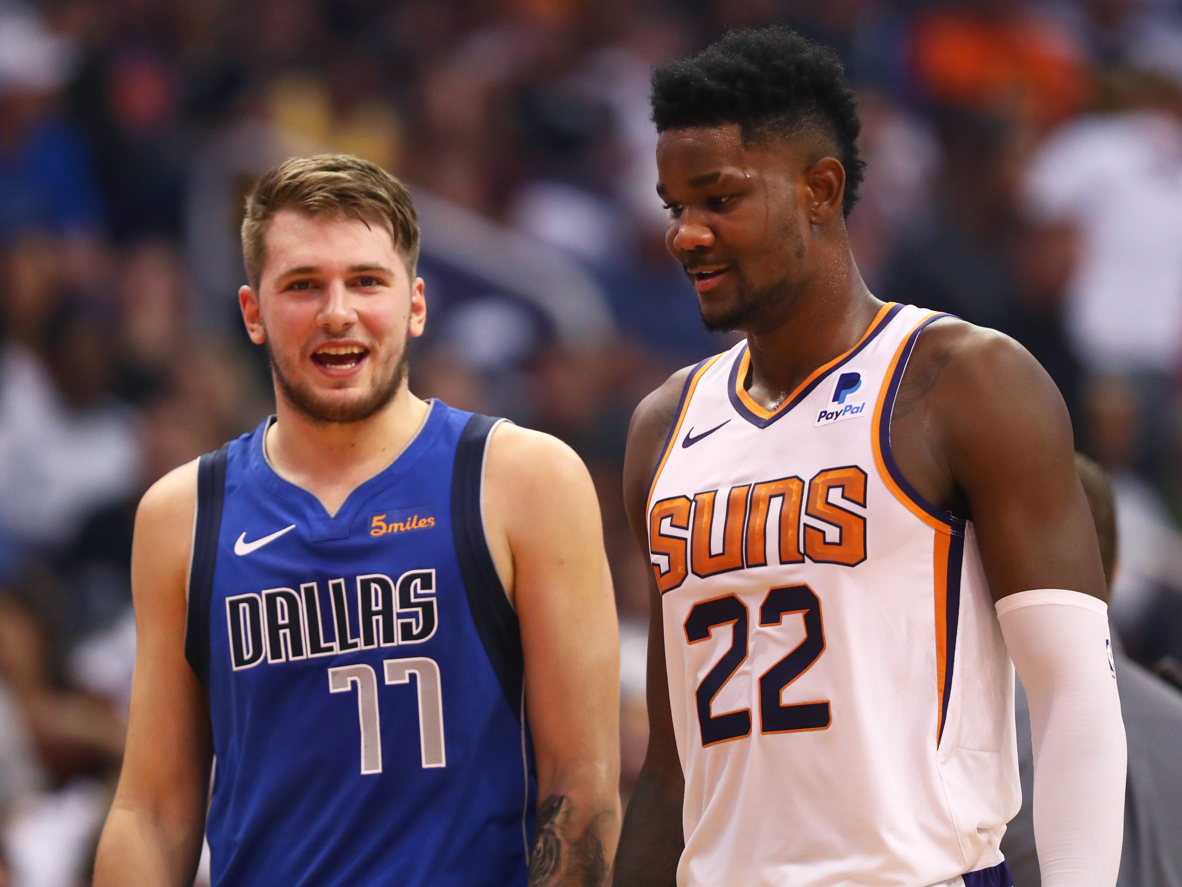 Oct. 17: Highly-touted rookies Suns center Deandre Ayton (No. 1 overall pick) and Mavericks guard Luka Doncic (No. 3 overall pick) share a word during the second half in Phoenix.