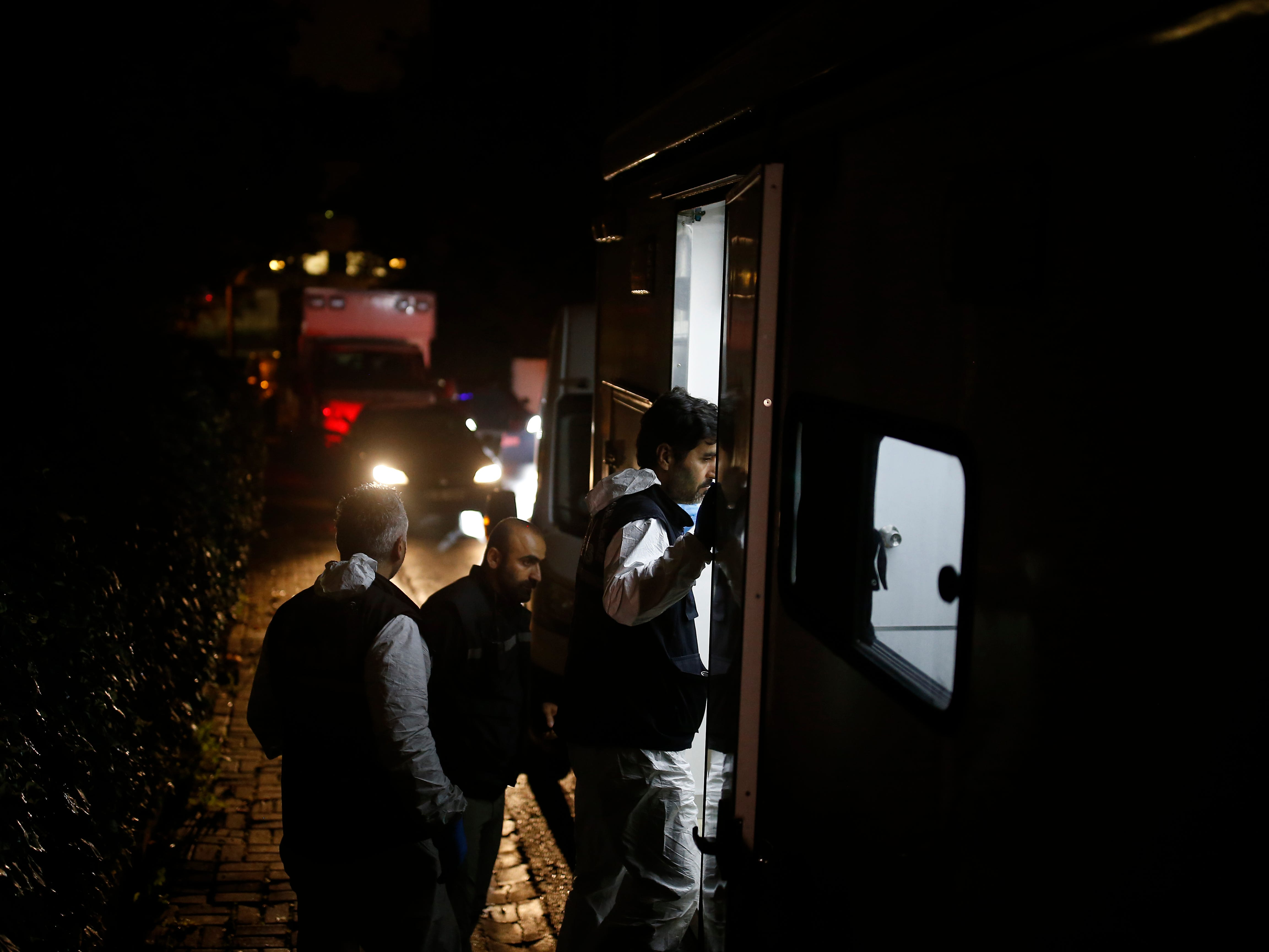 Turkish forensic officers arrive at the Saudi consulate to conduct a new search over the disappearance and alleged slaying of writer Jamal Khashoggi, in Istanbul, early Thursday, Oct. 18, 2018. Pro-government newspaper Yeni Safak on Wednesday said it had obtained audio recordings of the alleged killing of Saudi writer Khashoggi inside the consulate on Oct. 2.