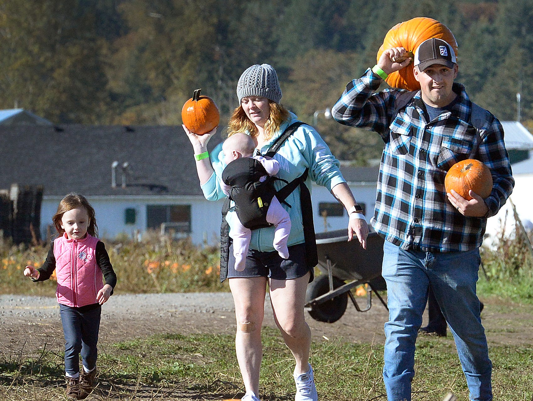 Making the short jaunt from nearby Joint Base Lewis-McChord to the Schilter Family Farm in Nisqually, Wash. on Sunday, Oct 14, 2018 US Army Sgt. Zach Holt and his wife Constance find a nice selection of future jack-o-lanterns fort heir daughters Paisleigh,3, and Charlotte, 4 months, as summer-like weather attracted throngs of pickers to local pumpkin patches.  (Steve Bloom/The Olympian via AP) ORG XMIT: WAOLY101