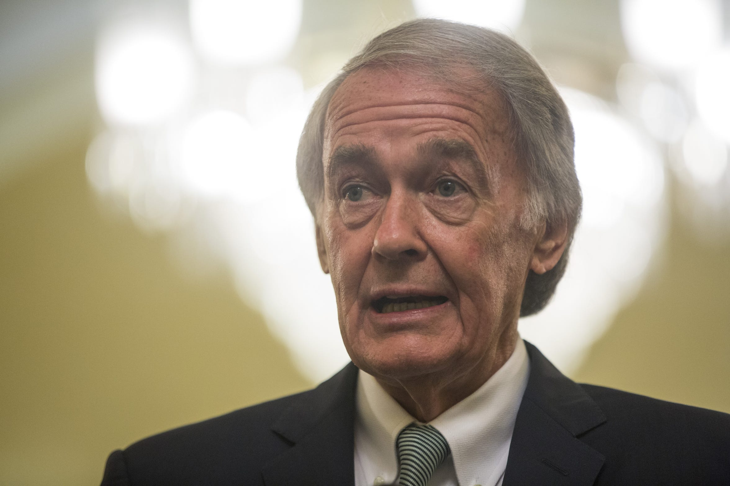 Sen. Ed Markey, D-Mass., speaks during a news conference on President Donald Trump's Clean Energy Plan replacement on Capitol Hill August 21, 2018.