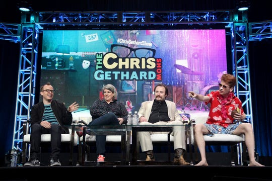 "Chris Gethard, from left, Shannon O'Neill, Murf Meyer and Vacation Jason participate in a truTV ""The Chris Gethard Show"" panel at the Beverly Hilton in Beverly Hills on July 27, 2017."