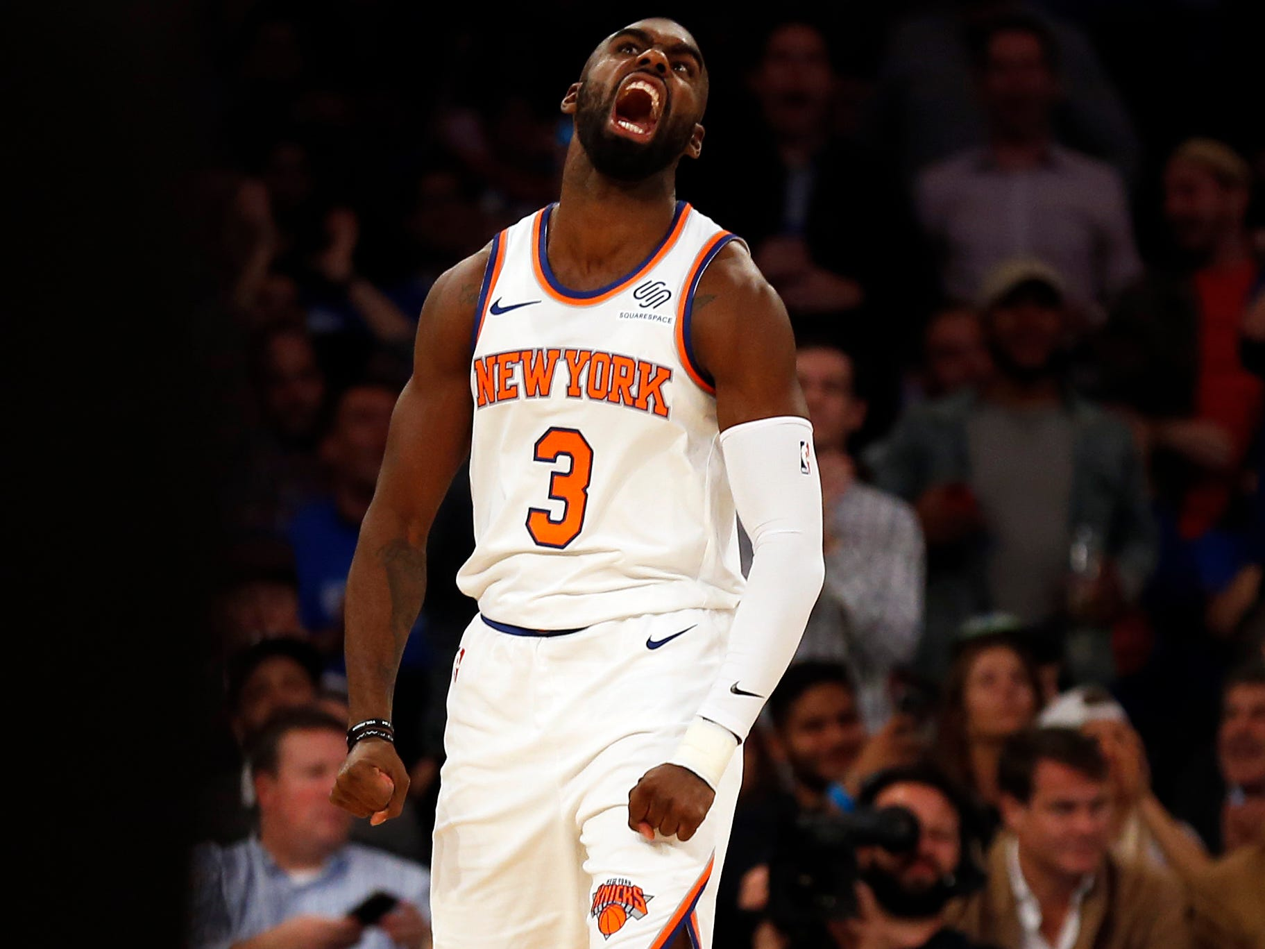 Oct. 17: New York Knicks guard Tim Hardaway Jr. reacts after dunking the ball against the Atlanta Hawks during the first half at Madison Square Garden.