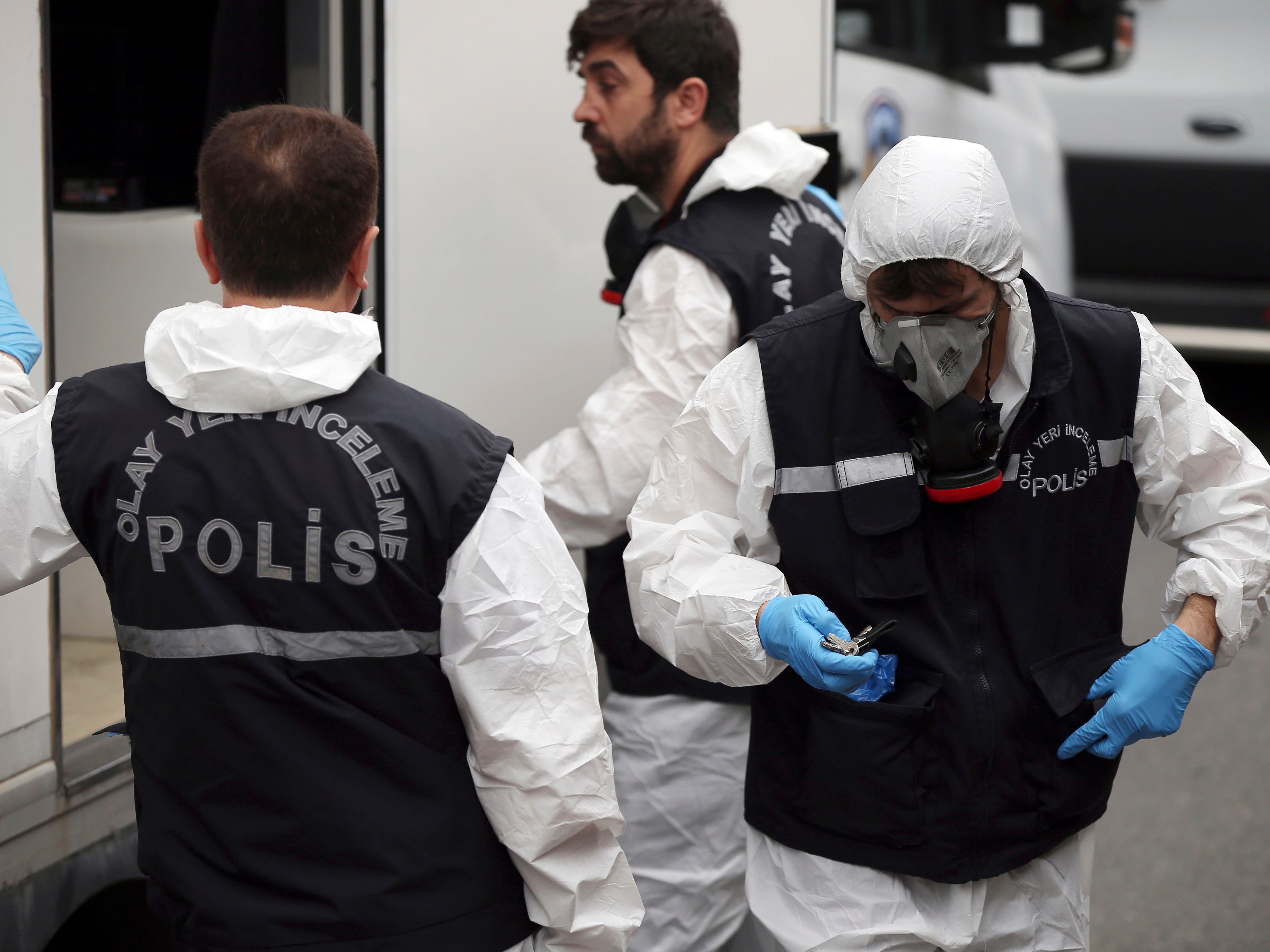 Turkish police officers prepare to enter the residence of the Saudi consul General Mohammed al-Otaibi to conduct a search after the disappearance and alleged slaying of writer Jamal Khashoggi, in Istanbul, Wednesday, Oct. 17, 2018.