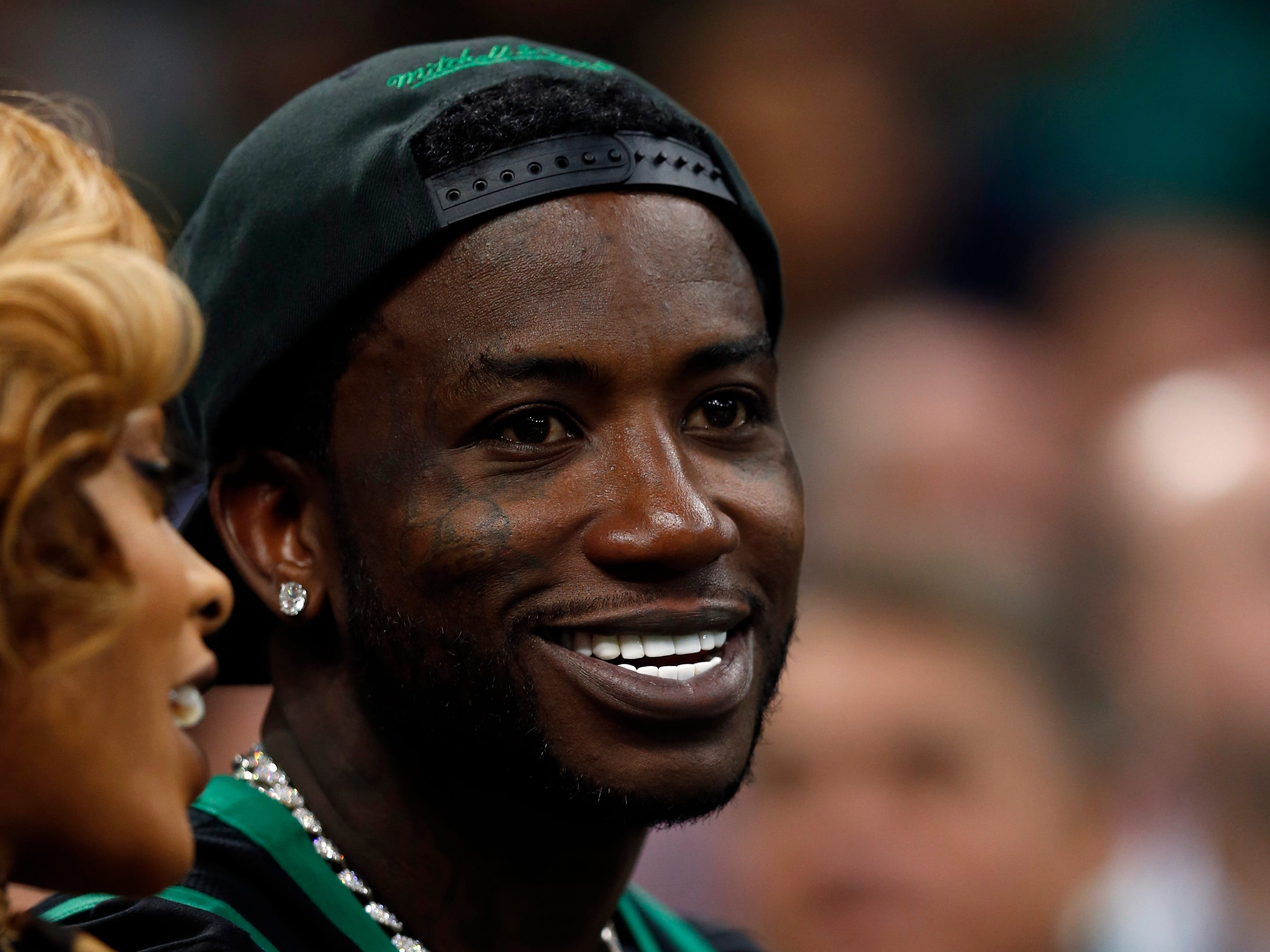 Oct. 16: Gucci Mane attends the Philadelphia 76ers and the Boston Celtics basketball game during the second half at TD Garden.