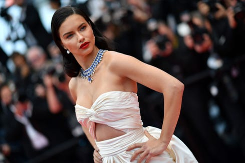 "Adriana Lima poses as she arrives on May 16, 2018 for the screening of the film ""Burning"" at the 71st edition of the Cannes Film Festival in Cannes, southern France."