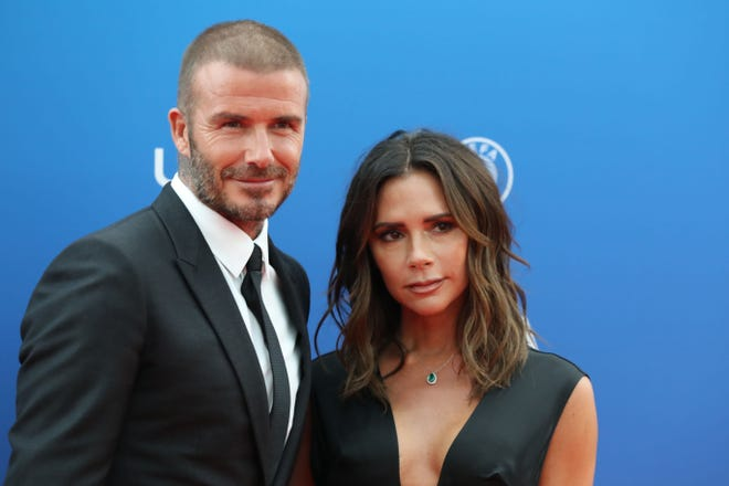 """David Beckham reveals his marriage to Victoria Beckham is """"hard work"""" during an interview with Australia's """"The Sunday Project,"""" which is set to air over the weekend. Here, the couple attend the draw for UEFA Champions League football tournament at The Grimaldi Forum in Monaco on August 30, 2018."""