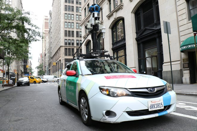 A Google Street View car equipped with low-to-the-ground methane-sniffing sensors can detect natural gas leaks as the car drives around, reporting coordinates and methane levels every half-second.