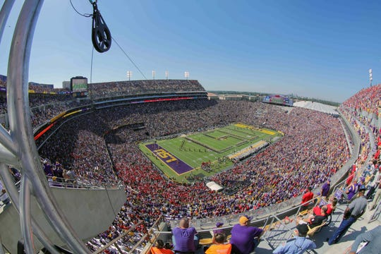 Tiger Stadium before kickoff between LSU and Georgia in the 2018 season. It could be virtually empty for some or all home games this season because of the coronavirus pandemic.