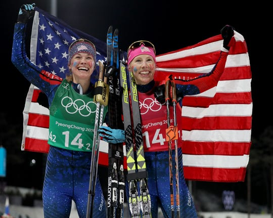 In February, Kikkan Randall (right), shown with teammate Jessie Diggins, celebrated winning the gold medal in the women's cross-country skiing team sprint freestyle final during the  Olympics in Pyeongchang.