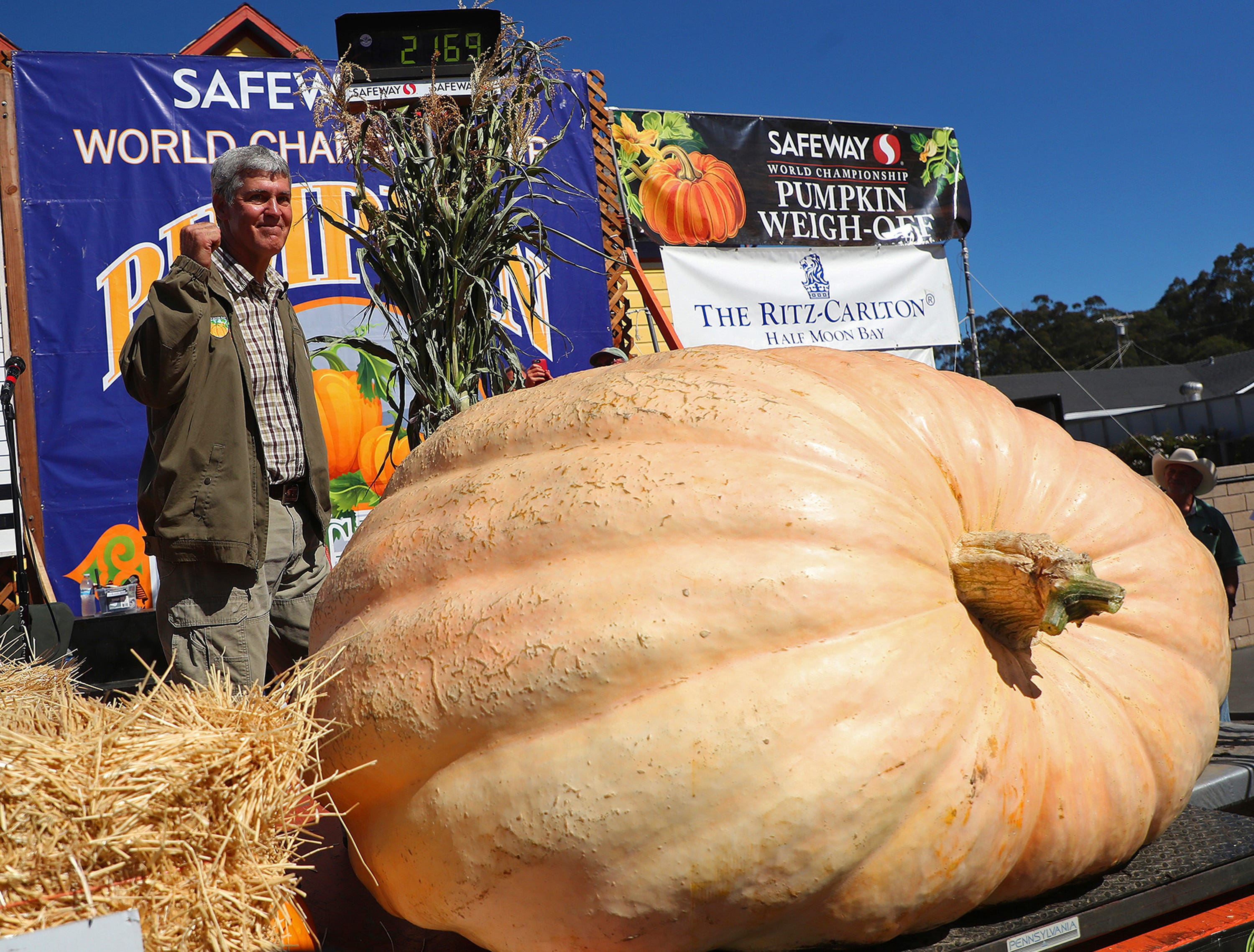 Steve Daletas of Pleasant Hill, Ore., celebrates his first place win in the 45th annual Safeway World Championship Pumpkin Weigh-Off on Monday, Oct. 8, 2018, in Half Moon Bay, Calif. A commercial pilot from Oregon raised a giant pumpkin weighing 2,170 pounds (984 kilograms) to win a pumpkin-weighing contest in Northern California. Daletas credited a good seed and lots of sunny days since he planted it April 15. It is the fourth time Daleta takes top honors at the annual pumpkin-weighing contest. (Aric Crabb/Bay Area News Group via AP) ORG XMIT: CAJOS501