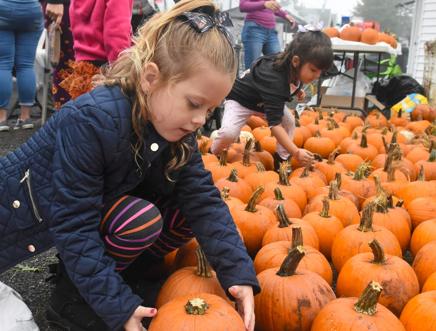 Ruby Gross, of Shenandoah, Pa., picks out her pumpkin during the annual Frackville Pumpkin Festival in Frackville, Pa., Saturday, Oct. 6, 2018. (Jacqueline Dormer/Republican-Herald via AP) ORG XMIT: PAPOE603