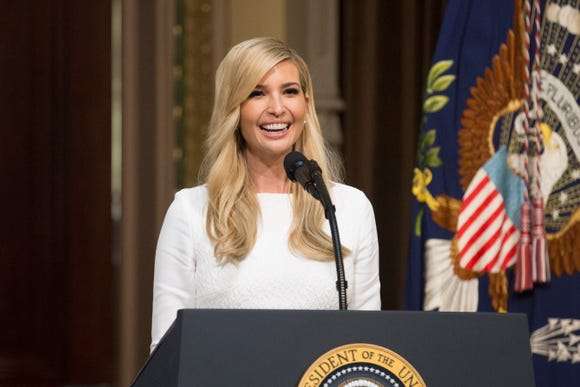 Ivanka Trump delivers remarks during the annual meeting of the Interagency Task Force to Monitor and Combat Trafficking in Persons in the White House complex in Washington, DC on Oct. 11, 2018.