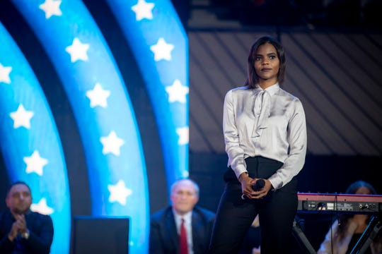 Candace Owen built a career as a conservative commentator in a little over a year. She started off on YouTube before being invited on to Fox News. She's since developed a friendship with rapper Kanye West. Here she is onstage during a speech at Liberty University on Sept. 26.