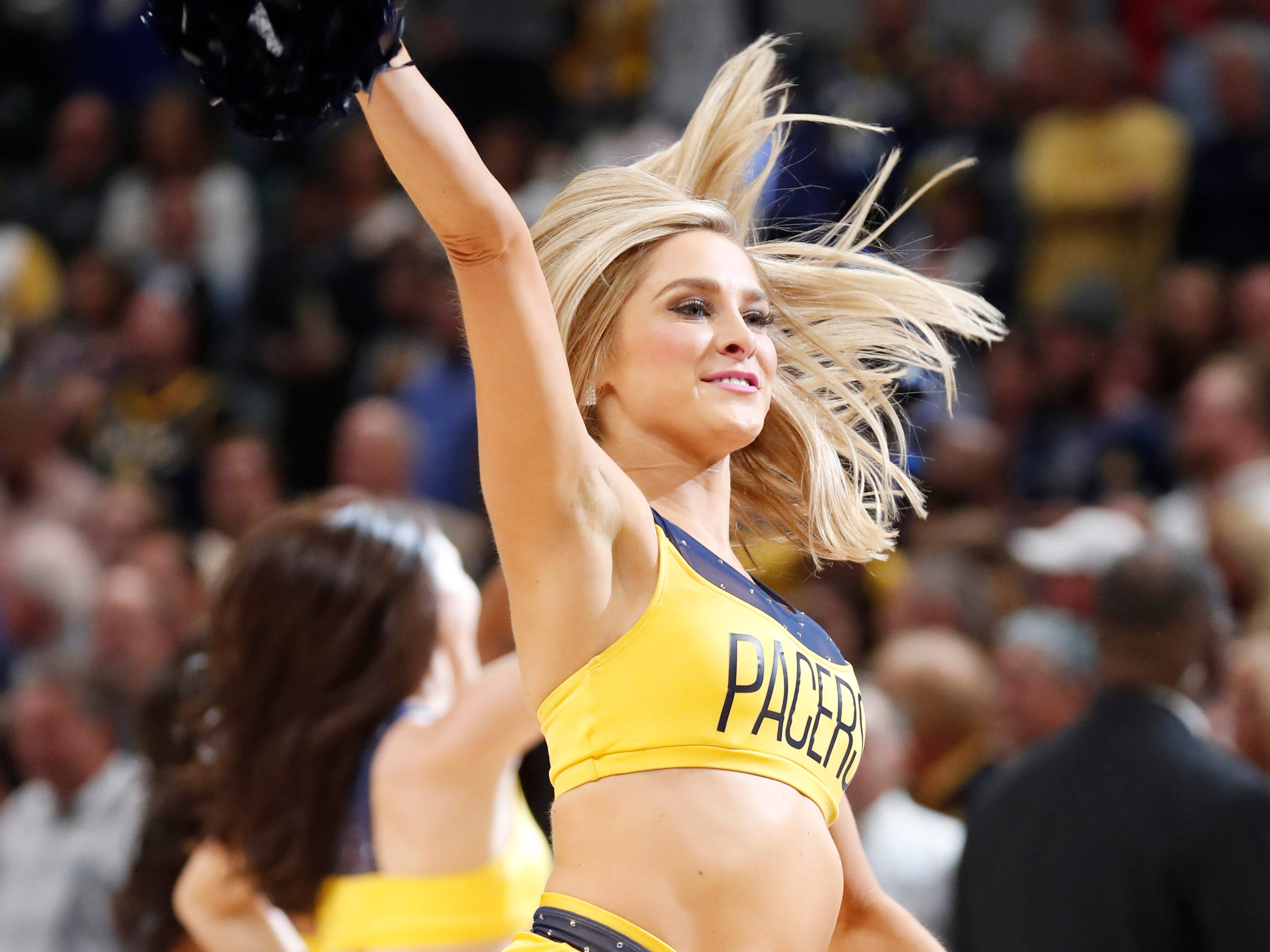 Oct. 17: Indiana Pacers cheerleaders perform a dance routine during the fourth quarter against the Memphis Grizzlies at Bankers Life Fieldhouse.