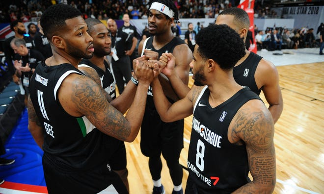 The USA Team huddles before the game against the Mexico National Team during the 2018 NBA G League International Challenge presented by Kumho Tire as a part of 2018 NBA All-Star Weekend at Verizon Up Arena at LACC on February 18, 2018 in Los Angeles, California.