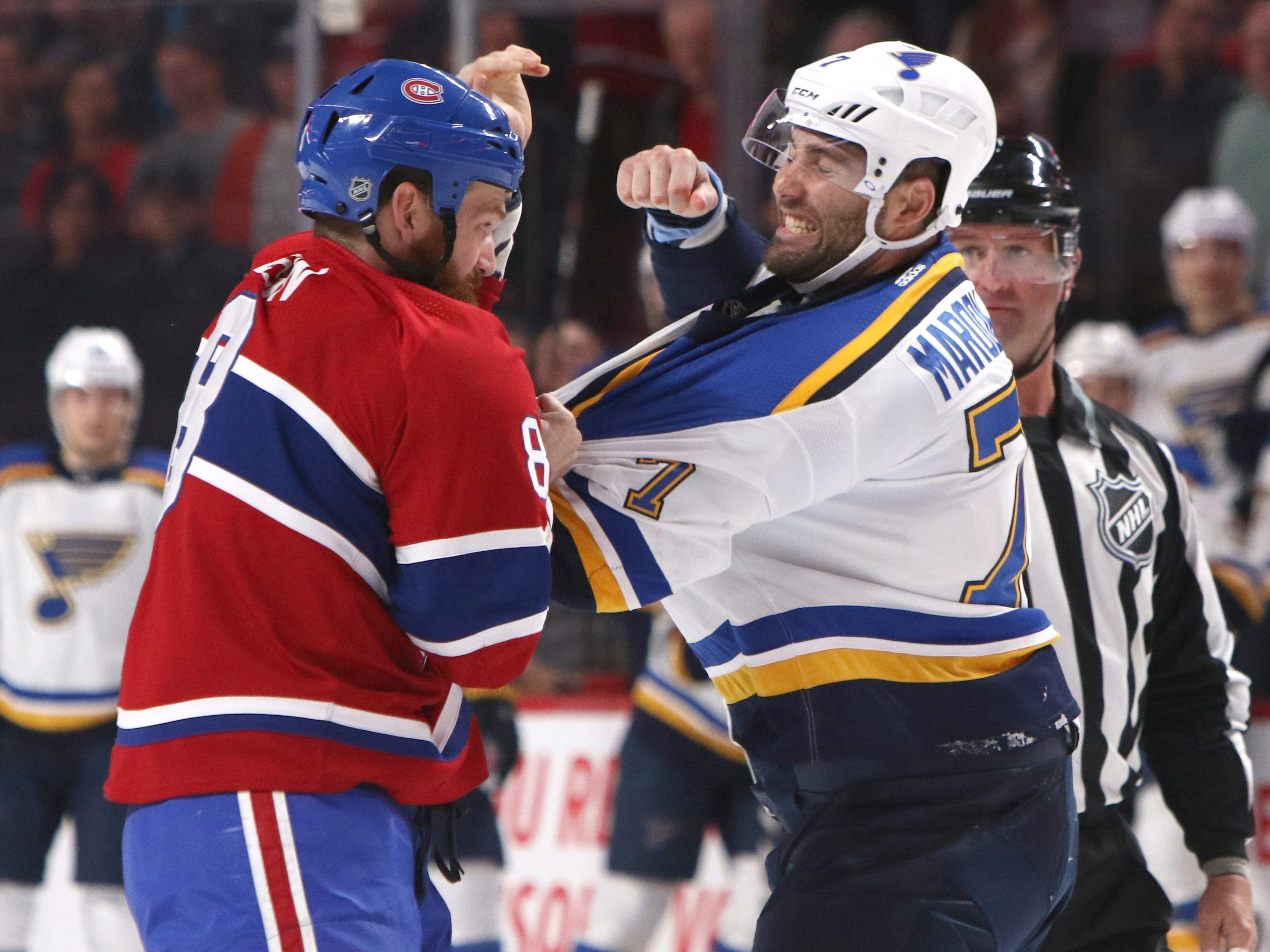Oct. 17: The Canadiens' Jordie Benn vs. the Blues' Pat Maroon.