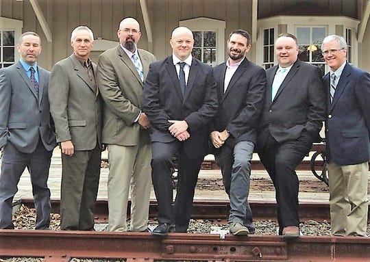 Stafford Township Republican nominees for mayor and council on Nov. 6: (left to right) council candidates Anthony Guariglia, Tom Steadman and Mike Pfancook; mayoral candidate Greg Myhre; and council candidates Bob Henken-Siefken, George Williams and Paul Krier.