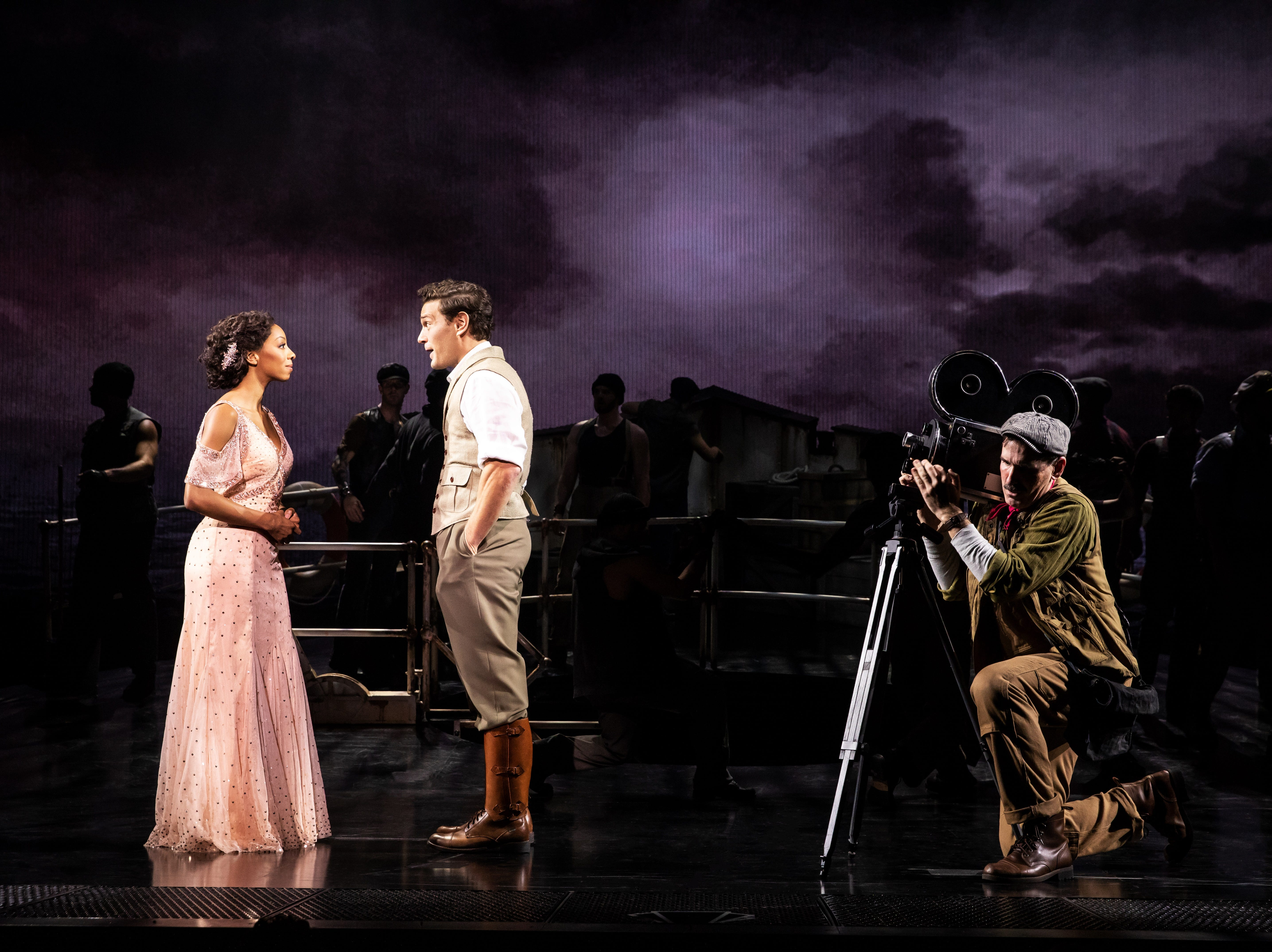 "Christiani Pitts as Ann Darrow, Eric William Morris as Carl Denham and Erik Lochtefeld as Lumpy in ""King Kong"" on Broadway."