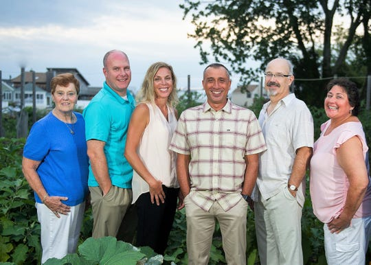 Stafford Township Democratic nominees for mayor and council on Nov. 6: (left to right) council candidates Joanne Sitek, Brian White, Nicole Downs; mayoral candidate Joe Mangino; council candidates Kevin Teeple, Denise Pobicki and Chris Marzullo.