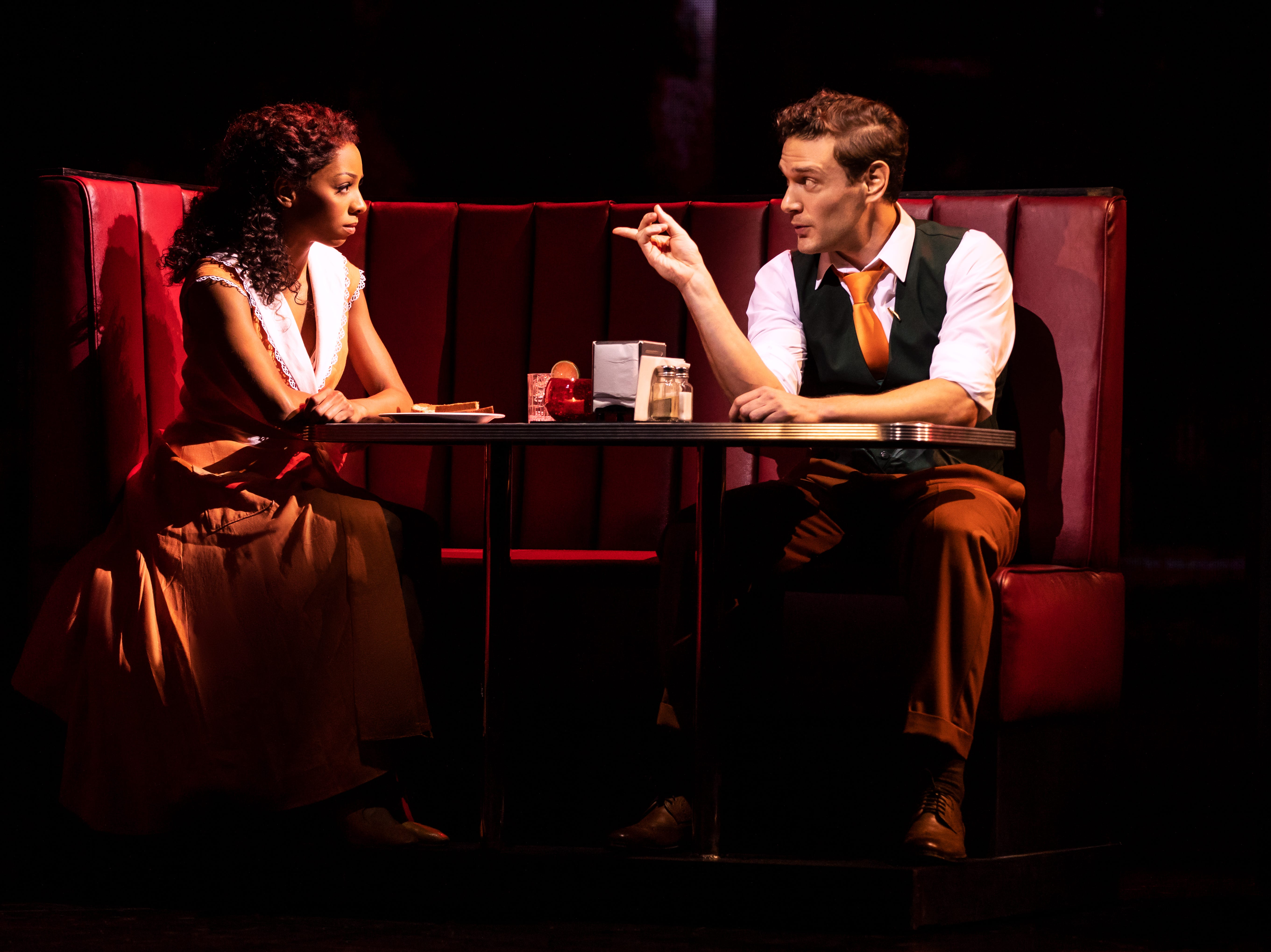 "Christiani Pitts as Ann Darrow and Eric William Morris as Carl Denham in ""King Kong"" on Broadway."