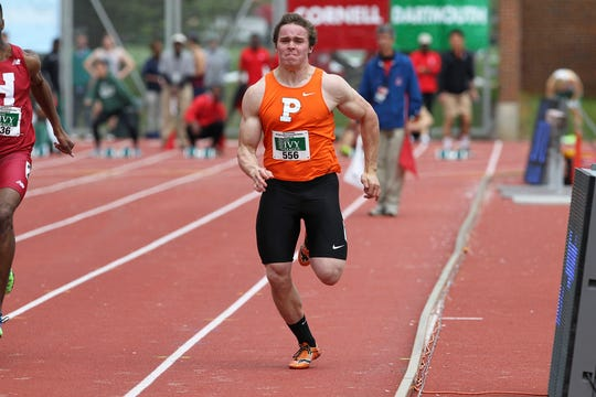Charlie Volker sprinting for Princeton's track team.