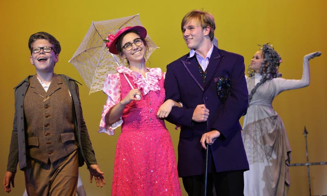 "Anna Claire Boone, second from left with Bert (Wesley Horn) is the title character in Wylie High School's ""Mary Poppins."""