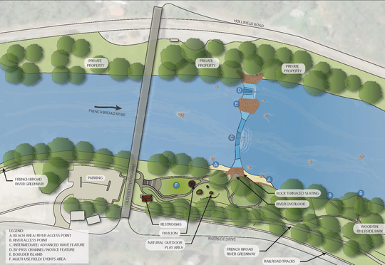 This rendering by S2O Design and Engineering shows where the future Whitewater Wave will be built across the French Broad River in Woodfin.