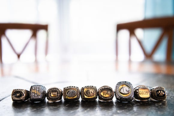 Murphy high school football coach, David Gentry's state championship rings.
