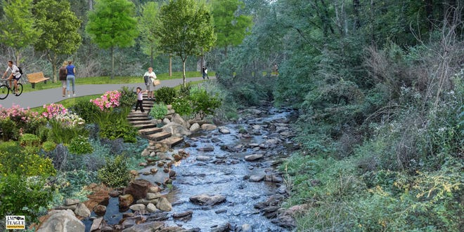This rendering depicts a portion of the Woodfin Greenway and Blueway project along Beaverdam Creek. The project will also include five miles of new greenway connecting Woodfin to Asheville, new parks and a whitewater wave in the French Broad River.