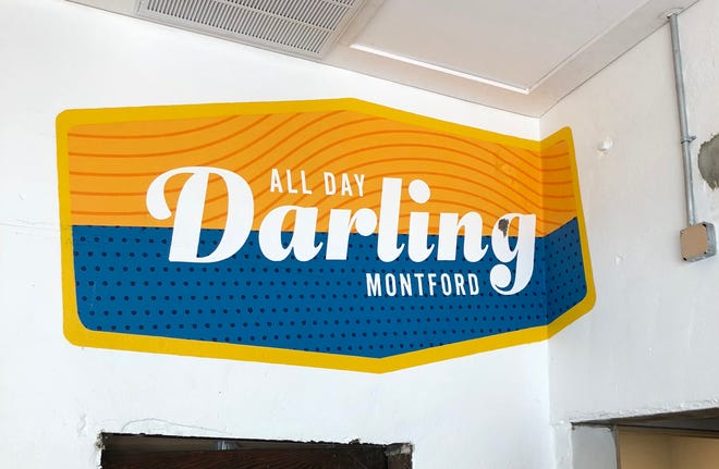 A detail from the wall at All Day Darling, in the former Tod's Tasties.