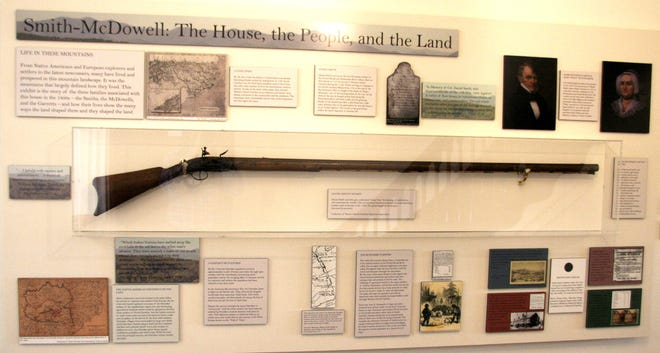 Daniel Smith's musket is on display at the Smith-McDowell House and Museum.