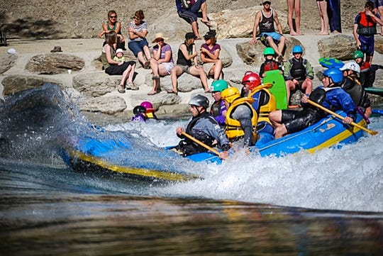 The future Woodfin Whitewater Wave will look similar to this artificial wave at Camp Hill Surf Park on the Hawea River in Waneka, New Zealand. It is designed by Scott Shipley, who is designing the French Broad River wave.
